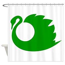Green Swan Silhouette Shower Curtain