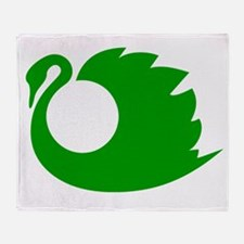 Green Swan Silhouette Throw Blanket