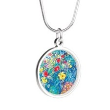 marc chagall still life Silver Round Necklace