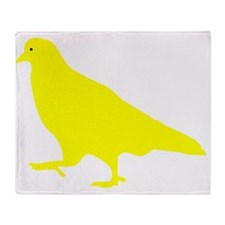 Yellow Pigeon Silhouette Throw Blanket