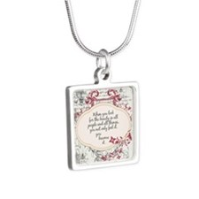 Inspirational Beauty Quote Silver Square Necklace