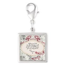 Inspirational Beauty Quote Silver Square Charm