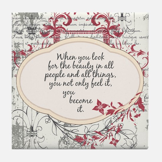 Inspirational Beauty Quote Tile Coaster