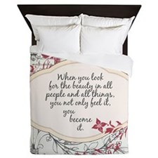 Inspirational Beauty Quote Queen Duvet