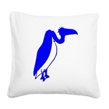 Blue Vulture Silhouette Square Canvas Pillow