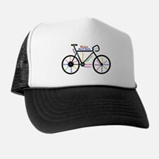 Bike made up of words to motivate Trucker Hat