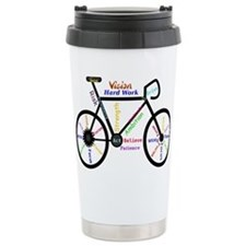 Bike made up of words to motivate Travel Mug