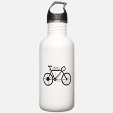 Bike made up of words to motivate Water Bottle