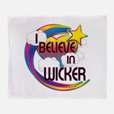 I Believe In Wicker Cute Believer Design Throw Bla