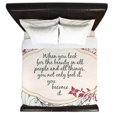 Inspirational Beauty Quote King Duvet