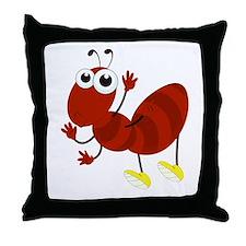 Cartoon Fire Ant Throw Pillow