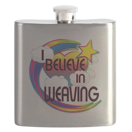 I Believe In Weaving Cute Believer Design Flask