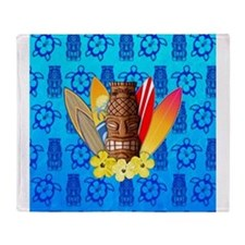 Tiki And Surfboards Throw Blanket