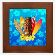 Tiki And Surfboards Framed Tile