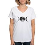 Triple Goddess Moons Women's V-Neck T-Shirt