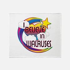 I Believe In Walruses Cute Believer Design Throw B