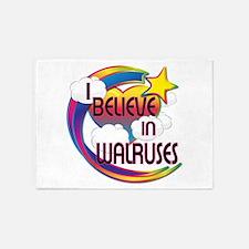 I Believe In Walruses Cute Believer Design 5'x7'Ar