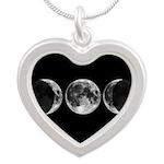 Triple Goddess Moons Heart Necklace