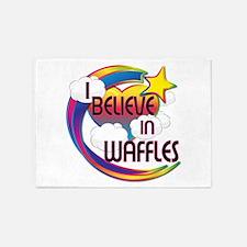 I Believe In Waffles Cute Believer Design 5'x7'Are