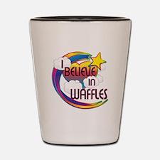 I Believe In Waffles Cute Believer Design Shot Gla