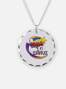 I Believe In Waffles Cute Believer Design Necklace