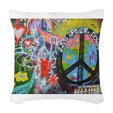 Graffiti in Prague Woven Throw Pillow