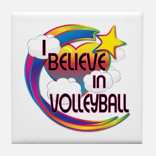 I Believe In Volleyball Cute Believer Design Tile