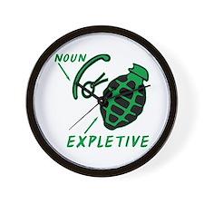 Hand Grenade Expletive Wall Clock