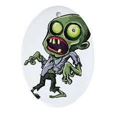 Scary cartoon zombie Oval Ornament