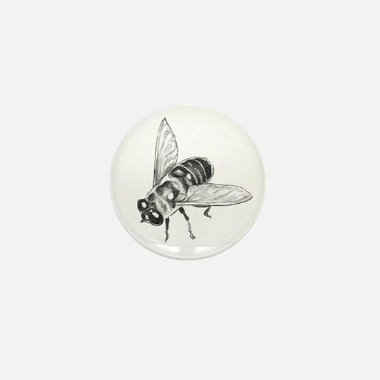 Flowers & Honey Bee Art Mini Button