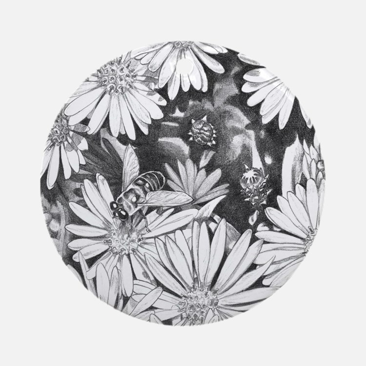 Flowers & Honey Bee Art Ornament (round)