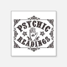 "Psychic Readings black Square Sticker 3"" x 3"""