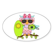 Surfing Girl Owl Decal