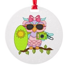Surfing Girl Owl Ornament