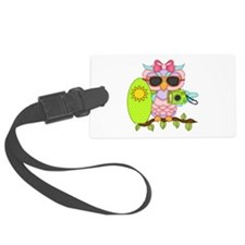Surfing Girl Owl Luggage Tag