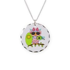 Surfing Girl Owl Necklace