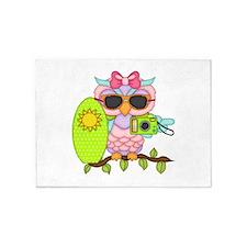 Surfing Girl Owl 5'x7'Area Rug