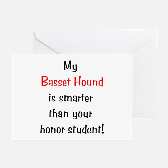 My Basset Hound is smarter... Greeting Cards (Pack