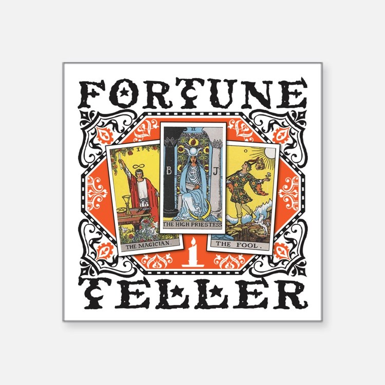 "Fortune Teller orange Square Sticker 3"" x 3"""