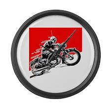 Vintage Motorcycle Racing Large Wall Clock