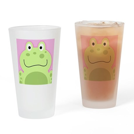 Cute Frog with Pink Background Drinking Glass