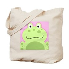 Cute Frog with Pink Background Tote Bag