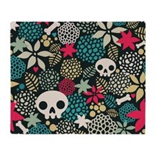 Skulls and Flowers Throw Blanket