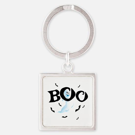 Ghost Boo Square Keychain