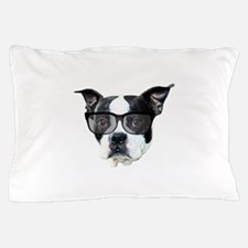Boston terrier glasses Pillow Case