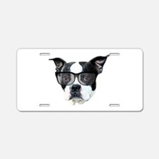 Boston terrier glasses Aluminum License Plate