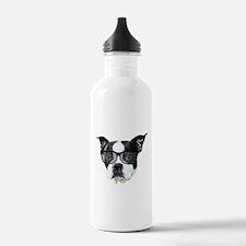 Boston terrier glasses Water Bottle