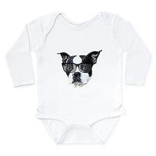 Boston terrier glasses Long Sleeve Infant Bodysuit
