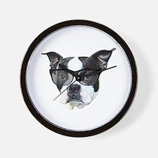 Boston terrier glasses Wall Clock