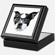 Boston terrier glasses Keepsake Box